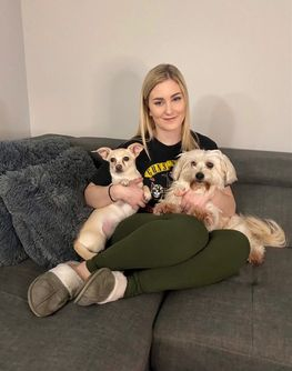 Kassandra with three dogs